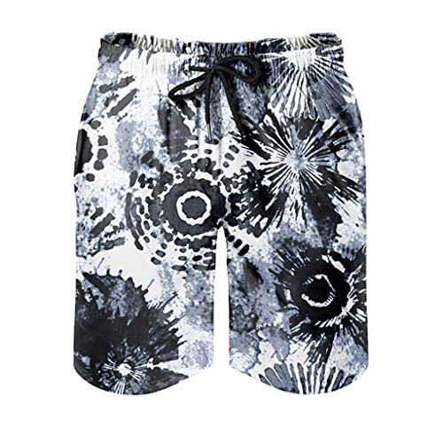 OwlOwlfan Tie dye - Bañador para hombre, secado rápido, apto para la piel, con bolsillos elásticos con cordón para surf, natación, correr