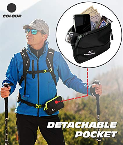 External Detachable Pocket for Backpacks and Waist Belts, Durable, Lightweight and Water-resistant Great for Hiking, Running, Jogging, Cycling, Biking, Skiing, Water Sports, Rave Festival, Traveling