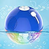 Bluetooth Speakers with RGBW Lights, Crystal Clear Stereo Sound,Dual Drivers,Rich Bass, IPX7 Waterproof, 50ft Wireless Range, Built-in Mic, Portable Floating Speaker for Pool Hot Tub Spa Shower Travel