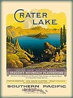 ERZANブリキアメリカ看板30X40cmクレーターレイクサザンパシフィックオレゴンアメリカ合衆国旅行ポスター広告ヴィンテージ アンティーク家の装飾ブリキ看板