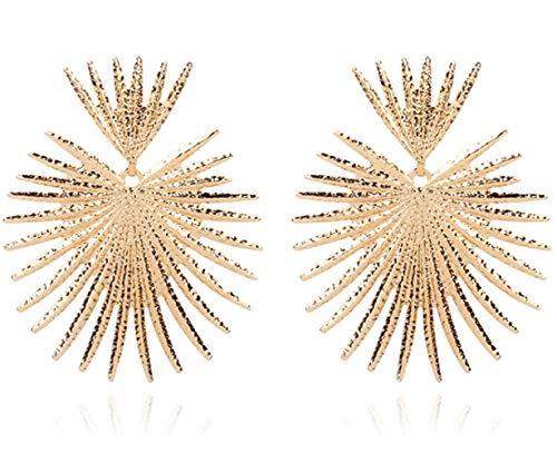 tjz Pendientes Colgantes Geométricos De Acero Inoxidable Pulido Pendientes De Oro Redondos Exagerados De Gran Declaración De Metal para Mujer Niña