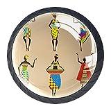 4 pomos redondos para aparador – Colorido diseño floral decorativo para cajones decoración del hogar, estilo bohemio, africano, étnico, diseño de niña