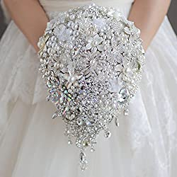 Bridal bouquet Ivory Gray Crystal With Silk flowers
