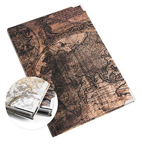 Logbuch-Verlag Vintage Notizbuch DIN A5 Weltkarte Globus Erdkugel - Blankobuch mit leeren Seiten zum Selbstgestalten mit Metall Schutzecken