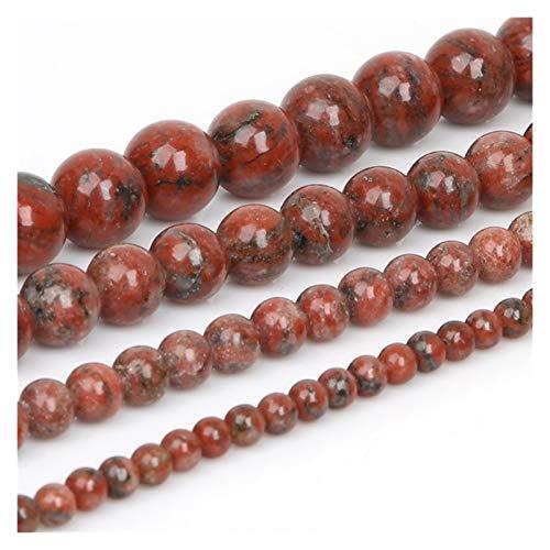 Linyuex 4 6 8 Bolas de Piedra Negro Mate Rojo Perlas Sueltas Lava Ojo de Tigre 10mm Piedra Natural for la joyería Que Hace Bricolaje Collar (Color : Sesame Red Stone, Size : 10mm/37Pcs)