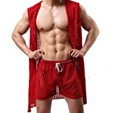 Men's Sexy Hooded Sleeveless Robes Bathrobes Mesh See-Through Lingerie Sleepwear Pajamas(Red M)