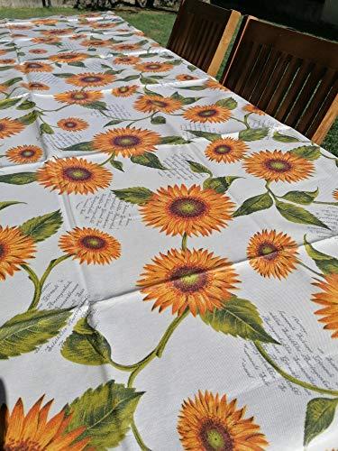 PAGO POCO tafelkleed van geplastificeerd katoen, zonnebloem, 100% waterdicht, alle maten, gemaakt in Italië.