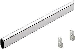 GEDOTEC Perchero de metal Perchero OVAL 1000 mm | Tubo acero cromado | muebles 30 x 15 mm | Varilla de armario para montaje en pared lateral | barra de muebles almacenamiento - 1 pieza