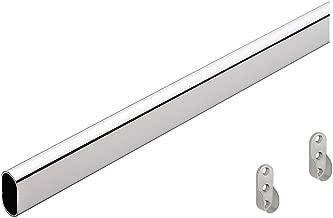 Gedotec Garderoben-Stange OVAL Schrankstange Kleider-Schrank 1000 mm mit Halterung | Schrankrohr Stahl verchromt | Möbelrohr 30 x 15 mm | 1 Stück - Kleiderstange Wand-Montage mit Schrankrohrlager