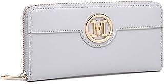 Miss Lulu Damen Geldbörse Klassische Brieftasche Mit Langem Reißverschluss Steckplatz für Mehrere Karten PU Leder (Grau)