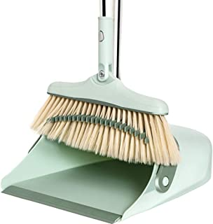 Broom and Dustpan Set,Long Handle Broomupright Dust Pan,Upright Standing Lobby Broom and Brush Handl for Household use, Sa...