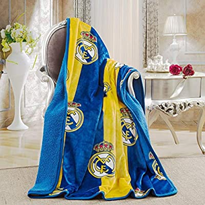 """Real Madrid Silk Touch Sherpa Lined Throw Blanket 50x60"""""""