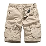 Men's Cargo Work Shorts Casual Cotton Relaxed Fit Multi Pocket Short Summer Overalls Wear Outdoor Twill Shorts (40,Khaki)