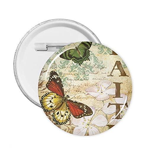 mengmeng Insignia de botones de la fe y las mariposas, 1 pieza L redondo insignia de pecho broche para chaquetas, sombreros y mochilas decoración