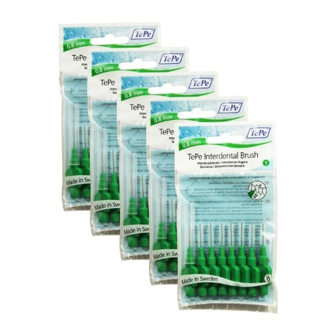 服を片付けるサーキットに行く重量TePe Original Interdental Brushes, Green (0.8 mm), 40 by TePe