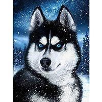 5D DIY Full Round Diamond Painting Animal scenery Diamond Embroidery Landscape snow, dog pattern Mosaic Home Decor Gift