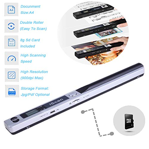 Lin Handscanner 900dpi AuflöSung Farbe Dokumentenscanner Wireless Tragbarer A4 Scanner Mit 8g Micro Sd Karte Jpg Und Pdf Format (Verpackung Mehrweg),Silber