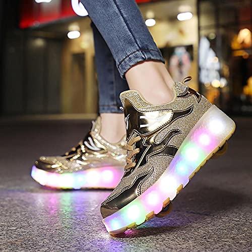XRDSHY Schuhe Mit Rollen Doppelrad Jungen Mädchen 7 Farbe Farbwechsel Lichter Blinken LED Schuhe Multifunktions Skateboard Cross-Training Rollschuhe Outdoorschuhe Sneaker, gold-42