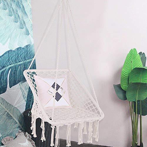 Hamaca Silla Colgante Silla de swing con tela de algodón para la durabilidad de la comodidad Jardín de jardín DecorationHammock Silla, comodidad Sillas colgantes para dormitorios Conjunto de silla col