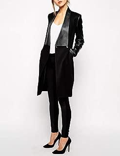 neveraway Women's Turn Down Collar 2 Button Coat Jacket Wool Blend Slim Fit Top