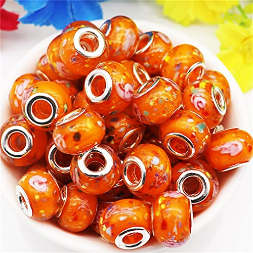 YSJJNDH Lampwork Glasperlen 10 stücke Bunte Blume Große Loch Lampwork Glas Europäische Perlen Fit Armband Armreif Charme Halsketten zur Herstellung (Color : Pink Flower 1)