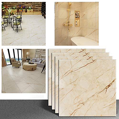VEELIKE Confezione 4 Pezzi 30cm x 30cm Piastrelle Adesive Mattonelle Pavimento Impermeabile Vinile Autoadesivo Adesivi Pavimento per Cucina Soggiorno Camera da Letto Giallo