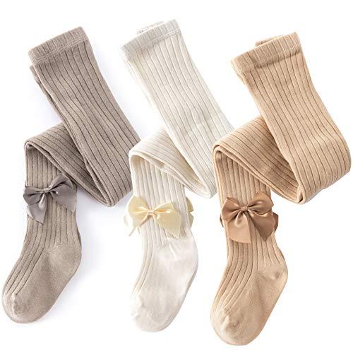 ACTLATI 2-8T Girls Tights Toddler Knit Cotton Leggings 3 Pairs of Baby Girl Stockings Girls Winter Pantyhose Pants