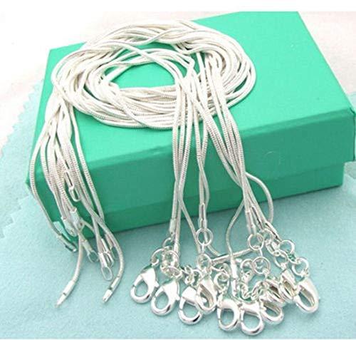 XKMY Joyería para mujer 5 piezas (16 18 20 22 24 pulgadas) joyería de moda 925 cadenas de plata de ley 1 mm cadena serpiente collar joyería (longitud: 5 piezas 22 pulgadas)