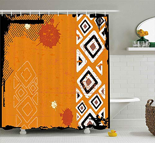 changchuan Tribal Ethnic African Design with Bold Lines Geometric Triangles Artwork Black Orange and White Long Shower Curtains with Hooks Home Dorm Hotel Bath Decor 72x72 Inch