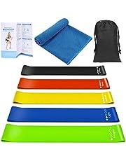 Peyou Elastische fitnessband, 2 kg – 18 kg, elastische weerstandsbanden met ademende sporthanddoek, handleiding met oefeningen en tas, voor yoga, crossfit, pilates, fysiotherapie