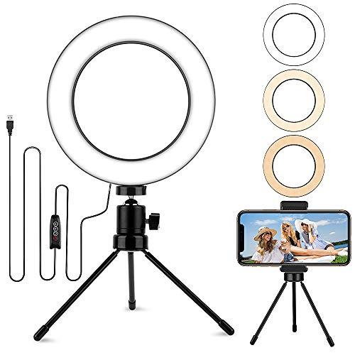 6.2'' Selfie LED Ringlicht Mit Stativ, Klein Tisch Beauty Ringleuchte mit 3 Farbe und 10 Helligkeitsstufen für schöne Foto/YouTube Video/Streaming/Makeup, Telefonhalter Kompatibel mit iPhone/Android