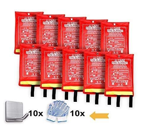 JJ Care Fire Blanket 10 Pack Emergency Fire Suppression Fiberglass Silica Cloth (40