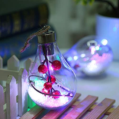 SPECOOL Sfera di Decorazione Natalizia, Sfera di plastica Trasparente di Natale con Una Luce