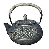 Tetera de té de hierro fundido negro japonés Tetera de tetera Tetal de tetera 9 Patrón-Peonía de oro_PORCELANA
