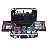Mave Carry All Trunk Train Case with Makeup and Reusable Black & White Aluminum Case (BLACK)