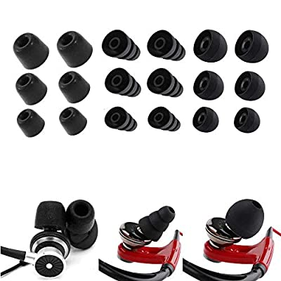 Feib Earphone Buds Replacement, 9 Pairs S/M/L Memory Foam Ear Tips Earbuds Noise Isolating Eartips Ear Pads For Earphone Headphones (Black Set) from Feib