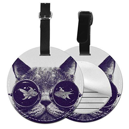 Kofferanhänger Inklusive Adressfeld, PU Leder Kofferschild, Gepäckschild für Koffer Tasche Rucksack Katze mit Brille Fisch