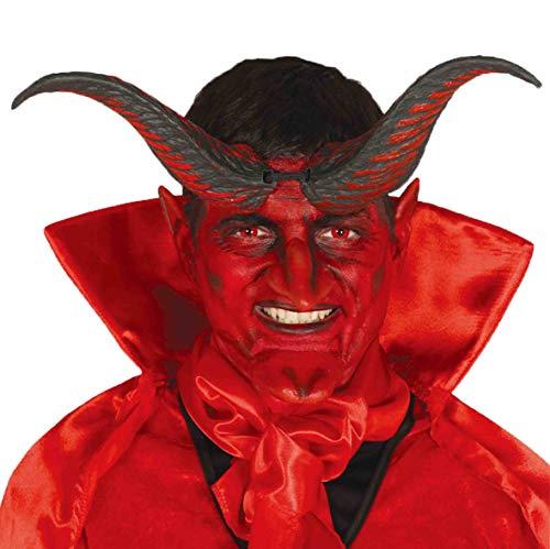 Cuernos de diablo negro-rojo - carnaval, fiesta, halloween - disfraz para adultos