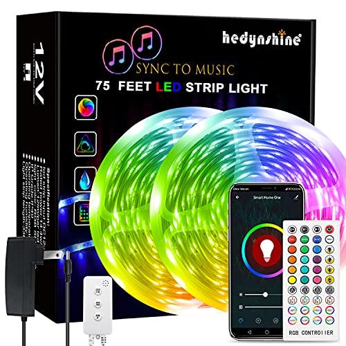 75Ft LED Strip Lights, Hedynshine Music RGB Strip Lights Color Change Strip Lights with 40key Remote,Led Lights for Bedroom