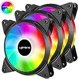 upHere 3-PIN 120mm Couleur/Rainbow LED Ventilateurs de Boitier PC Silencieux Pack Triple (T3CF3-3)