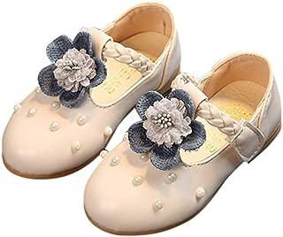 elegantstunning Children Baby Girls PU Shoes Flower Beads Soft Sole Fashionable
