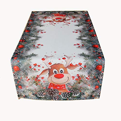 Raebel Tischserie 'ELCH MIT ROTER Nase' hochwertiges Druck-Motiv - Eyecatcher im Winter und zu Weihnachten (Tischläufer 40 x 90 cm)