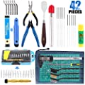 Glarks 42Pcs 3D Print Tool Kit Includes Cleaning Needles, Needle Nose Plier, Cutting Mat, Deburring Tool, Electronic Digital Caliper, Knife Clean Up Kit, Brushes for Finishing, Cleaning 3D Printer