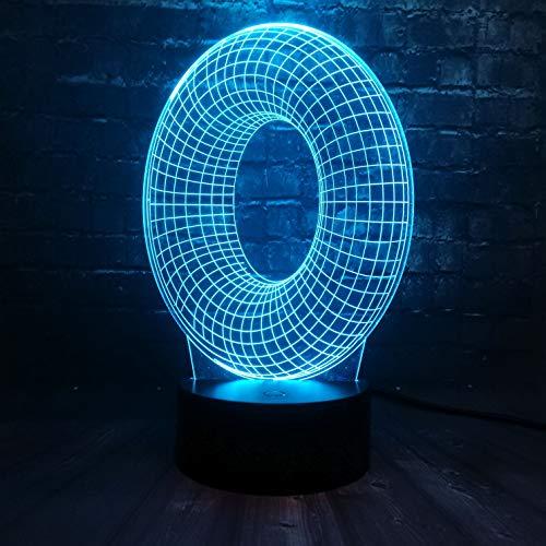 Letter O. 3D nachtlampje LED illusie lamp met 7 kleuren wijzigen en afstandsbediening - verjaardags- en kerstcadeaus voor kinderen bedlampje slaapkamerdecoratie