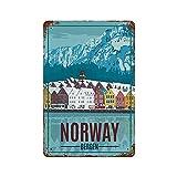 Gearsly Norwegen Bergen Tour Poster Europa Reise Vintage