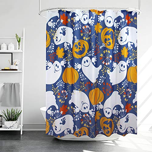 AooHome Duschvorhang, Kürbis-Geister-Design, Stoff, Halloween, Badezimmer-Vorhang mit Haken, beschwerter Saum, wasserdicht, 178 x 183 cm