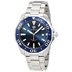 """Battery Operated Quartz Movement Blue Dial and Aluminum Bezel Brushed with Polished Stainless Steel Case and Bracelet 43mm = 1 5/8"""" Case, 7"""" Adjustable Bracelet Date Feature, UniDirectional Rotating Bezel, Screw Down Crown, Luminescent Hands and Hour..."""
