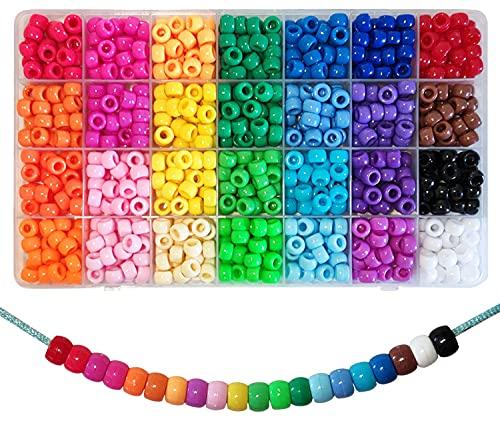 840 Stück Pony Beads 6x9mm Bunte mit Großem Loch für Schmuck, Armbänder, Ketten, Schlüsselanhänger, Basteln (28 Farben)