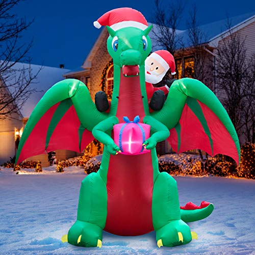 Holidayana 9 ft Christmas Inflatable Santa Riding Dragon Yard Decoration - 9 ft Tall Airblown Lawn Decoration, Bright Internal Lights, Built-in Fan, and Included Stakes and Ropes