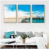 QIAOO Arte de Lienzo de Moda, Cielo Azul y Nubes Blancas, apartamento Junto al mar, Cartel de Sol de Verano, Pintura de Paisaje Impresa, decoración de Pared, sin Marco
